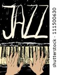 playing the jazz piano. hand... | Shutterstock .eps vector #111500630