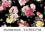 seamless floral pattern with... | Shutterstock . vector #1115011736