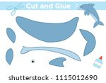 cut and glue cartoon dolphin.... | Shutterstock .eps vector #1115012690