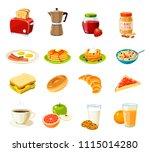set of cartoon food  breakfast. ... | Shutterstock . vector #1115014280