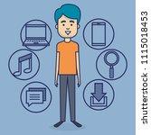 avatar man with social media... | Shutterstock .eps vector #1115018453
