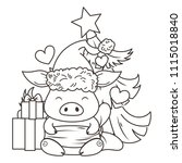 cute cartoon pig in love with... | Shutterstock .eps vector #1115018840