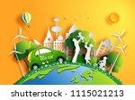 paper art style of landscape... | Shutterstock .eps vector #1115021213