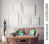 living room interior wall mock...   Shutterstock . vector #1115021486