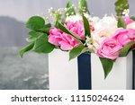 box with beautiful peony... | Shutterstock . vector #1115024624