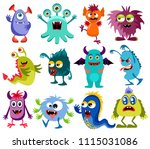 cute cartoon colorful mosters... | Shutterstock .eps vector #1115031086