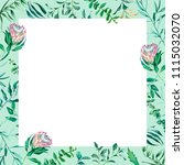 square frame of watercolor... | Shutterstock . vector #1115032070