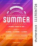 retro summer party design... | Shutterstock .eps vector #1115036726
