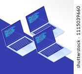 flat isometric laptop.... | Shutterstock .eps vector #1115039660