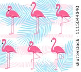 flamingo pattern with palm... | Shutterstock .eps vector #1115044340