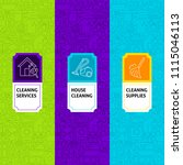 line cleaning package labels....   Shutterstock .eps vector #1115046113