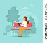 girl is sitting in a park... | Shutterstock .eps vector #1115048243