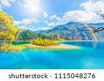 oludeniz beach with rainbow  ... | Shutterstock . vector #1115048276