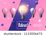 vector 3d realistic light bulbs ... | Shutterstock .eps vector #1115056673