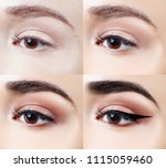 makeup on eye step by step.... | Shutterstock . vector #1115059460