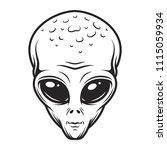 vintage monochrome alien face... | Shutterstock .eps vector #1115059934