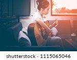asian girls wearing white... | Shutterstock . vector #1115065046