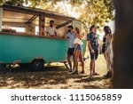 young people buying street food ... | Shutterstock . vector #1115065859