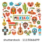 collection of mexican national... | Shutterstock .eps vector #1115066699