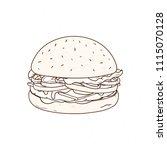 tasty hamburger hand drawn with ...   Shutterstock .eps vector #1115070128