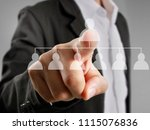 hand touch a virtual icon of... | Shutterstock . vector #1115076836