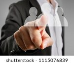hand touch a virtual icon of... | Shutterstock . vector #1115076839