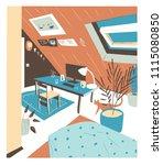comfortable modern cabinet ... | Shutterstock .eps vector #1115080850