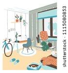 modern cabinet or bedroom... | Shutterstock .eps vector #1115080853