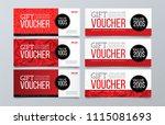 set of 6 red geometric banner... | Shutterstock .eps vector #1115081693