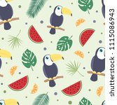 toucan tropical seamless... | Shutterstock .eps vector #1115086943