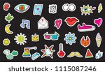 cute colorful modern patch set. ... | Shutterstock .eps vector #1115087246