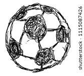 doodle hand drawn soccer ball... | Shutterstock .eps vector #1115087426