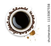 cup with coffee and plate and... | Shutterstock .eps vector #1115087558