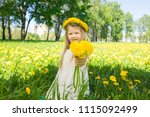 sweet little girl with floral... | Shutterstock . vector #1115092499