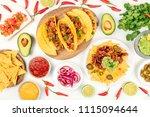 an overhead photo of an... | Shutterstock . vector #1115094644