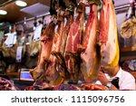 spanish hamon in barcelona... | Shutterstock . vector #1115096756