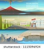 set of natural disaster or...   Shutterstock .eps vector #1115096924