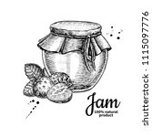 strawberry jam glass jar vector ... | Shutterstock .eps vector #1115097776