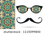 retro hipster ornate sunglasses ... | Shutterstock .eps vector #1115099840