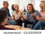 group of multiethnic friends... | Shutterstock . vector #1115103929
