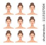 portrait of a girl. a set of... | Shutterstock .eps vector #1115107004