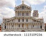 pisan romanesque facade of... | Shutterstock . vector #1115109236