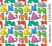seamless pattern with funny... | Shutterstock .eps vector #1115114990