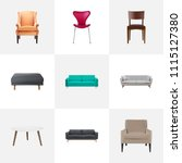 set of furniture realistic... | Shutterstock .eps vector #1115127380