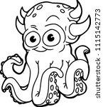 silly halloween monster vector... | Shutterstock .eps vector #1115142773