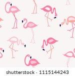 flamingo seamless pattern... | Shutterstock .eps vector #1115144243