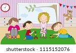 little preschool children in... | Shutterstock .eps vector #1115152076