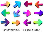 color pop art retro arrow signs ... | Shutterstock .eps vector #1115152364