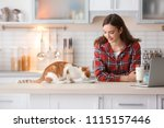 Stock photo beautiful young woman with cute cat in kitchen at home 1115157446