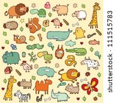 Stock vector cute animals set xl in colors 111515783